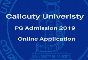 Calicut University PG Admission 2019 Online Registration - cuonline