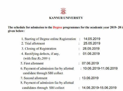 Kannur University Degree Allotment Date 2019