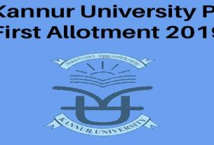 Kannut University PG First Allotment 2019 Result