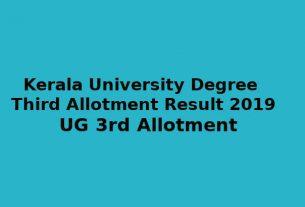 Kerala University Degree Third Allotment - UG 3rd Allotment Result