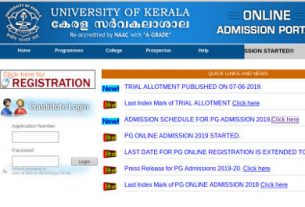 Kerala University PG Trial Allotment Result 2019
