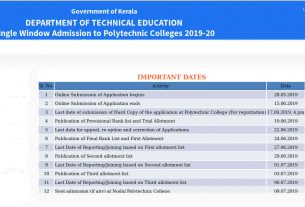 Kerala Polytechnic Rank List and Polytechnic Trial Allotment Result 2019