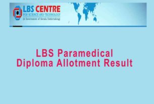 LBS Paramedical / Dpharm/Health Inspector Trial Allotment Result 2019 - www.lbscentre.in