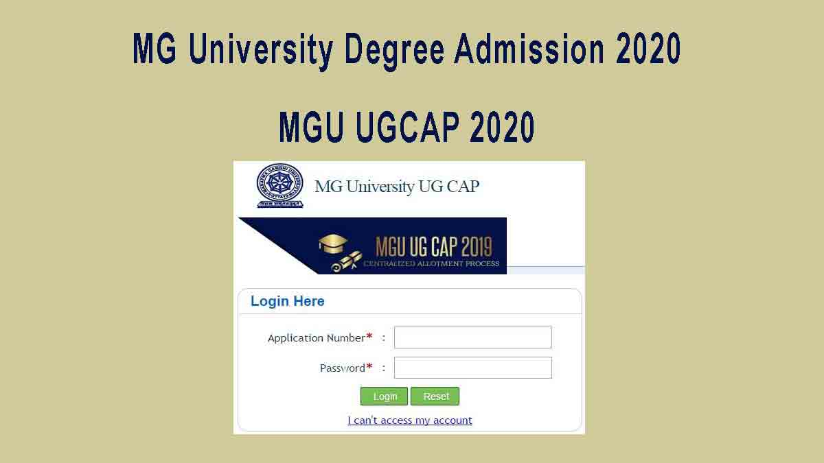 MG University Degree Admission 2020 - MGU UGCAP 2020 Registration