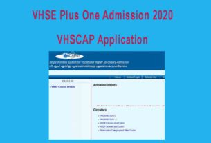 VHSE Admission 2020 Application Form - VHSCAP Single Window Registration
