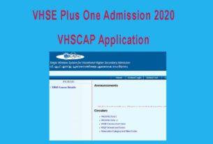 VHSE Admission 2020 Application Form - VHSCAP Single Window Registration