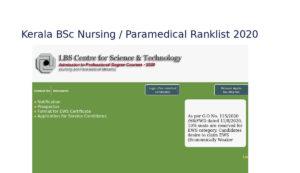 LBS BSc Nursing / Paramedical Ranklist / Option Registration - lbscentre.in