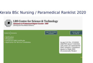 LBS BSc Nursing / Paramedical Ranklist / Option Registration - lbscentre.in