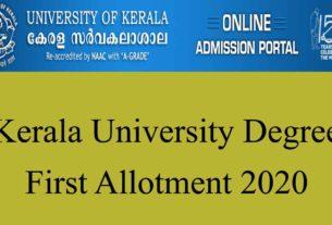 Kerala University UG First Allotment 2020 Published -check degree allotment
