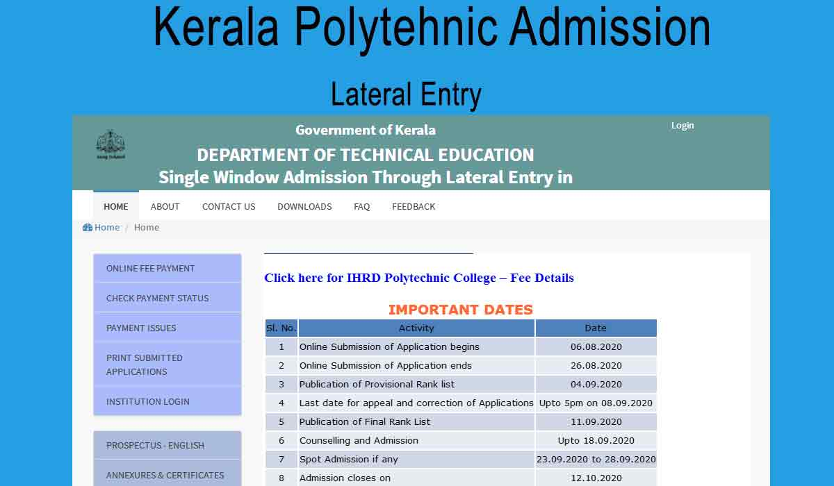 Polytechnic Lateral Entry Admission Ranklist - www.polyadmision.org/let
