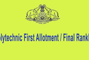 Polytechnic Final Rank List and First Allotment List