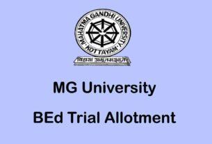 MG University BEd Trial Allotment / Rank List
