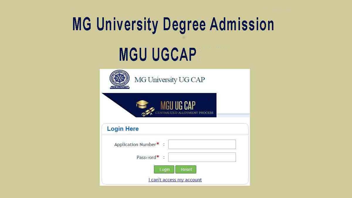 MG University Degree Admission Application - MGU UGCAP Registration