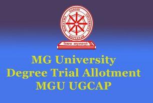 MG University Degree Trial Allotment - MGU UGCAP Allotment List
